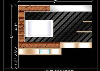 LED TV Unit Elevation Design DWG Cad Block Download