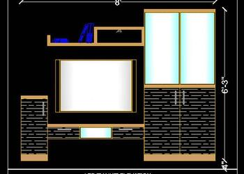 LED TV Unit Elevation Design Free Cad Block Drawing
