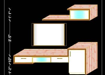 Modern LED TV Unit 3d Elevation Design Free Cad Block Drawing