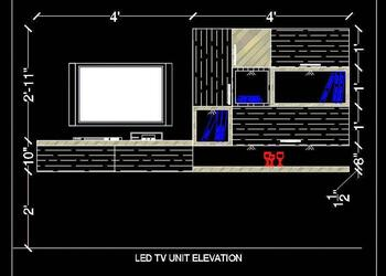Modern TV Unit Elevation Free Cad Block Download