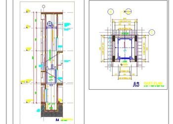 Typical Lift Elevation Detail Plan and Section DWG Drawing