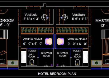 Hotel Guest Room Floor Plan Interior and Furniture DWG Detail