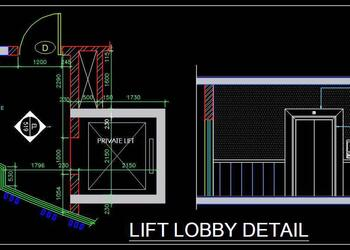 Lift Lobby Plan and Elevation Free DWG File Download