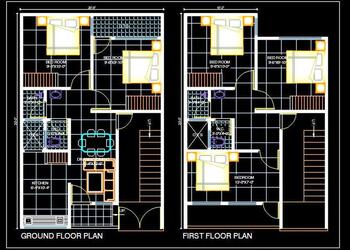 House Space Planning 20'x30' Floor Plan DWG Download