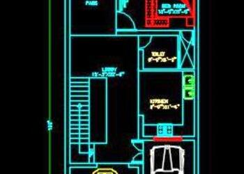 House Space Planning 25'x100' Floor Plan Free DWG Download