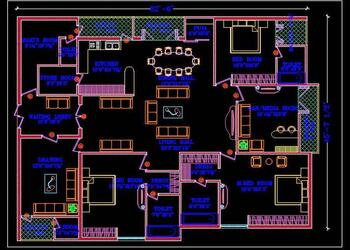 3 BHK Apartment Floor Layout Plan DWG Drawing