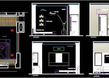 Bedroom Interior Design Working Drawing DWG Plan and Elevations