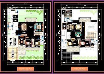 Bungalow Architectural, Interior and Landscape Layout Plan DWG Drawing File (20x28) Meter)