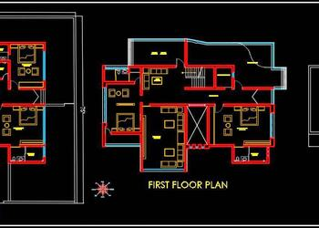 Bungalow Architecture Floor Layout Plans DWG Drawing (95'x75')