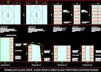 Frameless Glass Door, Flush Door and Fixed Glass Partition Elevation DWG Cad Design