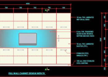 Full Wall Cabinet Design With TV Space DWG Drawing Download