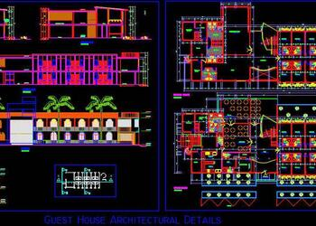 Guest House Architecture Design Working Drawing DWG File