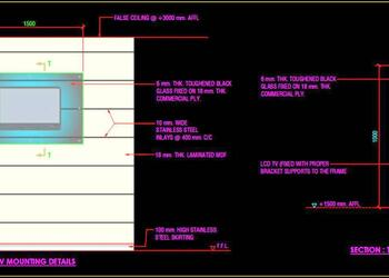LCD TV Panel and Mounting Details Cad DWG Drawing