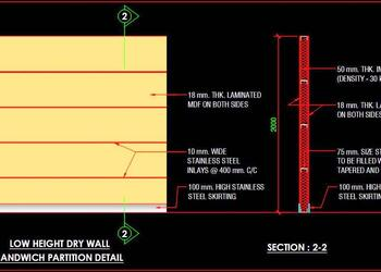 Low Height Dry Wall Sandwich Partition Details DWG Free Download