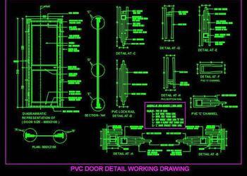 PVC Door Detail Cad Working Drawing