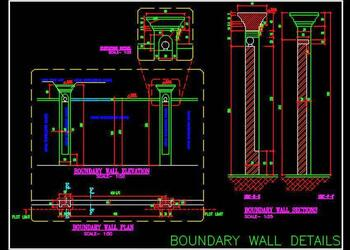 Simple Boundary Wall Design Cad Detail Plan, Elevation and Section