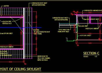 Skylight Plan and Section Cad Detail