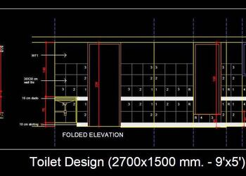 Toilet Design (2700x1500 mm. - 9'x5') Free Cad Plan and Elevation