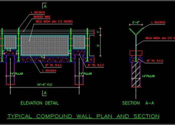 Typical Compound Wall Fencing DWG Plan And Elevation