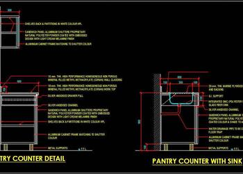 Typical Pantry Counter and Sink Fixing Detail Free Cad Drawing