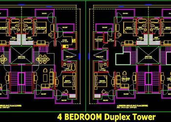 4 Bedroom Duplex Apartment Unit Layout Plan (3000 Sq. Ft.)