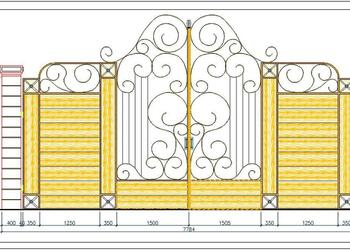 Main Entrance Gate Elevation Design Free Cad Block