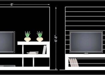 Modern TV Unit Elevation Design Free Cad Block