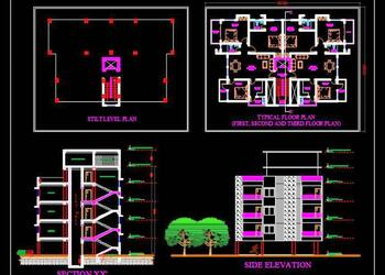 Multi- Family 3 Storey Building (25x20 meter) DWG Drawing
