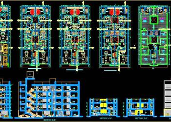 Multi-family Residential Building (11x25 meter) Autocad Architecture cad file download
