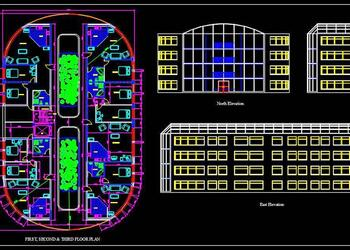 Oval Shaped Multi Family Residential Buiding (25x40 Meter) DWG Drawing