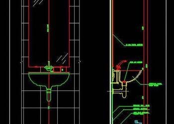 Typical Wall Mount Washbasin Section Free Cad Block