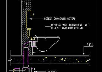 Typical Wall Mount WC Section Free Cad Block