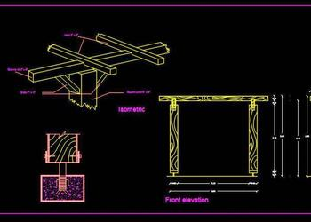 Wooden Pergola Construction DWG Design Drawing