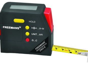 FREEMANS Digital Measuring Tape (5 m, 19 mm, Black)