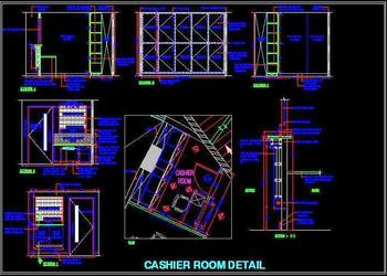 Cashier Room Design detail DWG Drawing File