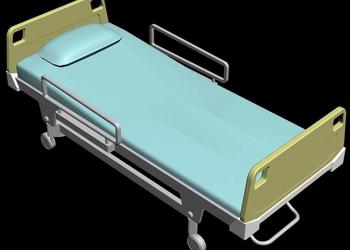Patient Hospital Bed 3d view