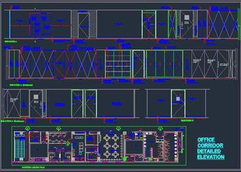 Office corridor layout Plan with detailed elevation