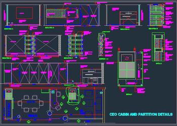 CEO  Senior Exexutive cabin layout plan, details, wall elevations and column feature detail