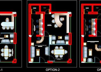 Different layout Options of small office .dwg