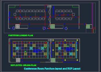 Large Conference Room Meeting Room with furniture and RCP Layout
