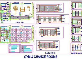 Gym Floor Plan and Interior Design DWG Details