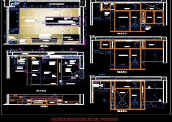 Master bedroom detail with bed and bed wall detail design.dwg