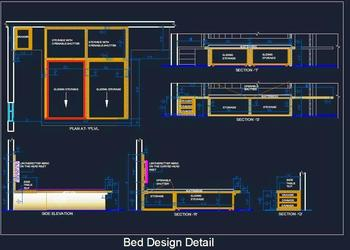 Double Bed Detail with Sliding Storage