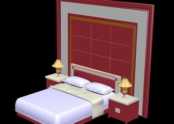 Bed Wall Design 3d view