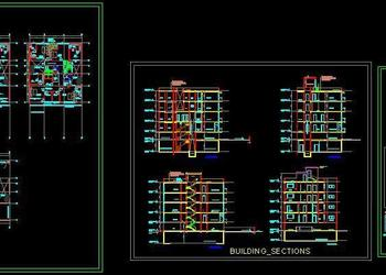 Bungalow Four Storey Space Planning, Building Sections