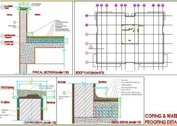 Terrace Parapet Wall Coping and Water Proofing Detail