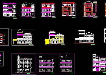 Collection of 2d House Elevations Free DWG Download