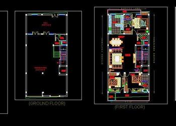 Independent House Double Storey Layout with RCP Cad Design (30'x60')