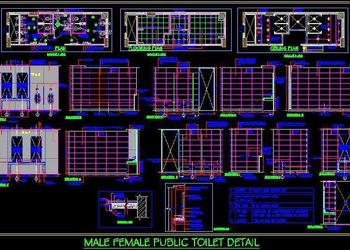 Male, Female Public Toilet Working Drawing