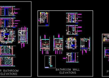 3 Designer Bathrooms Cad Working Drawing Detail